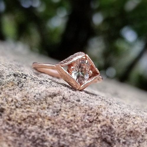 Dryad rose gold ring with white zircon