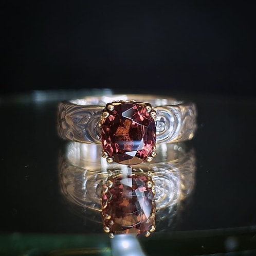 Alchemy ring with peachy red tourmaline