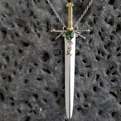 Sterling silver and 18k yellow gold Sword pendant with Tourmaline