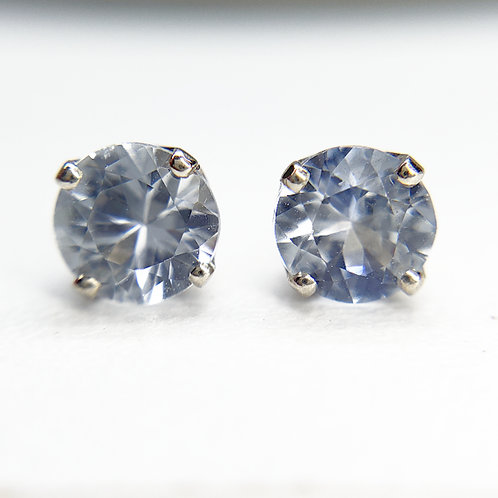 Reserved for Geoffrey white sapphire 14k white gold studs