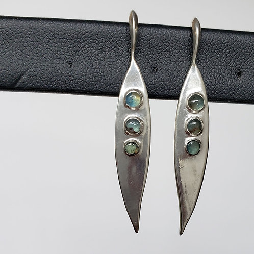 Dryad Drop earrings with three sapphire cabochons