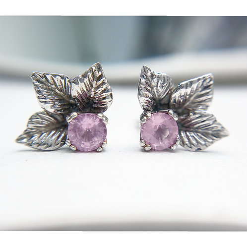 Leaf trio earrings with pink spinel