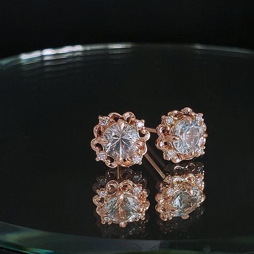 Crown earrings with WA aquamarine