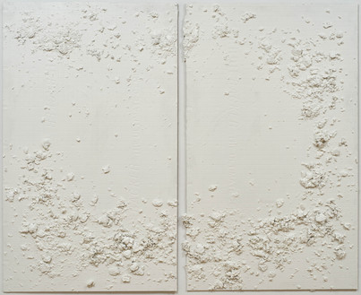 """Untitled, latex, acrylic, tempera, glue, and porcelain on fiber cement board, 60"""" x 74"""" x ¼"""", 2020."""