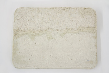 """Concrete/Asphalt Platter with Cigarette, porcelain slip with glaze, 3/4"""" x 11 1/2"""" x 8 1/4"""", 2017."""