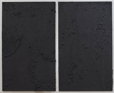 """Untitled, oil, acrylic, and charcoal on fiber cement board, 60"""" x 74"""" x ¼"""", 2021."""