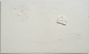 """Untitled, latex, acrylic, tempera, glue, plaster, and porcelain on fiber cement board, 36"""" x 60"""" x ¼"""", 2020."""