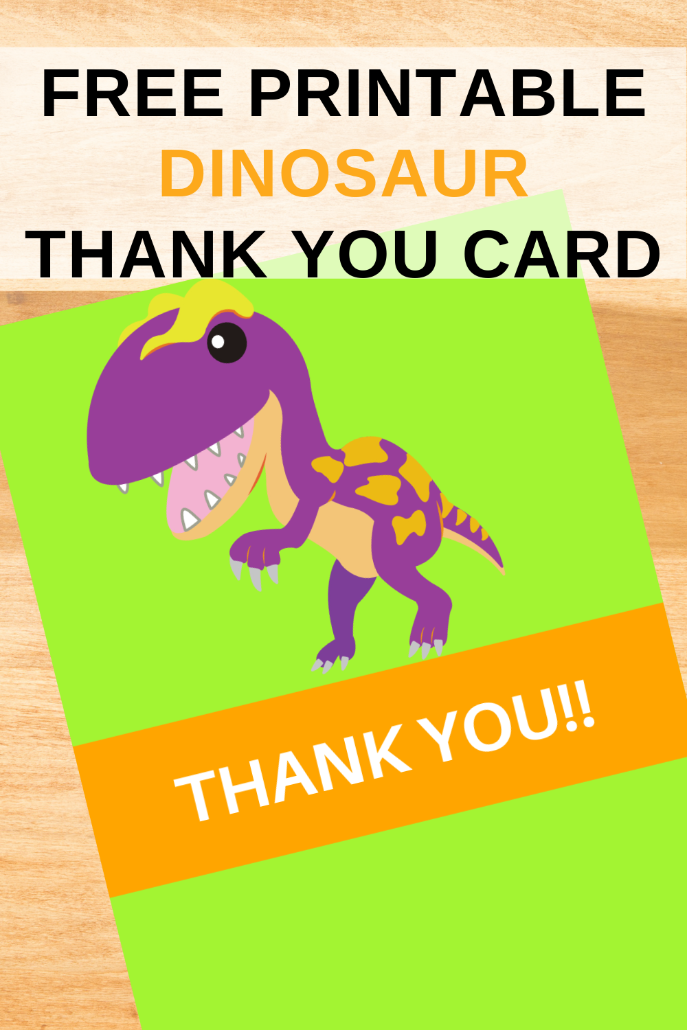 free printable dinosaur themed thank you note