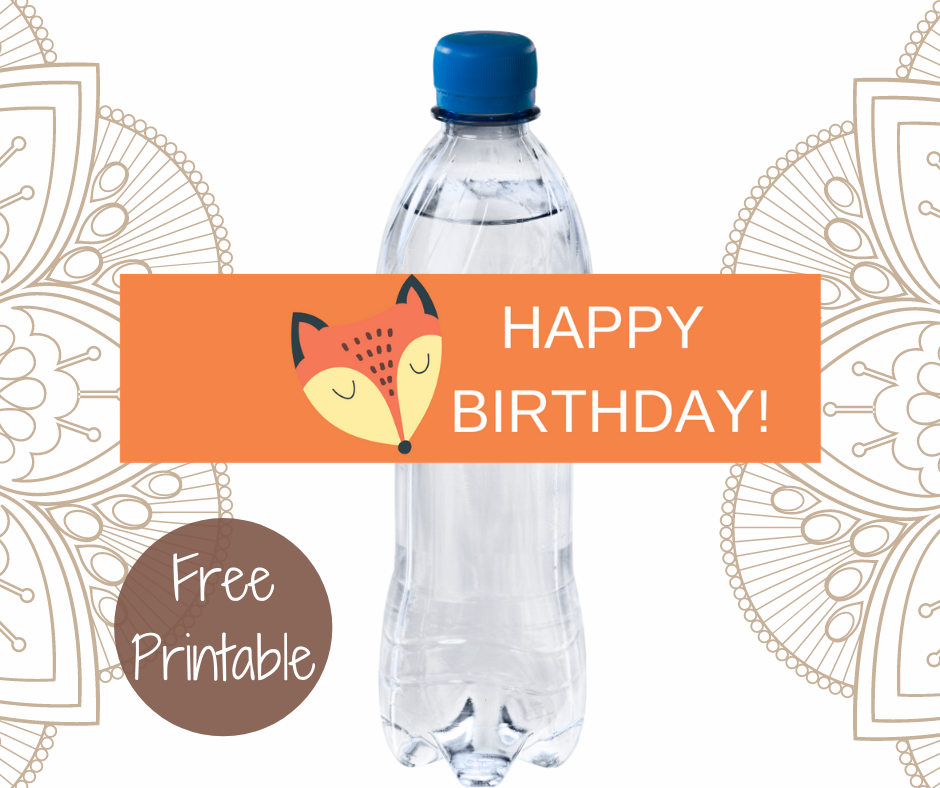 rustic animal water bottle label for a kids birthday party