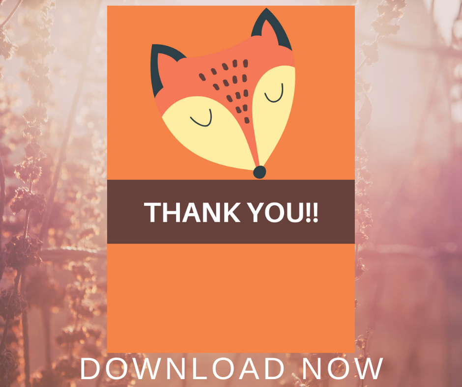 rustic animal thank you card for kid birthday party