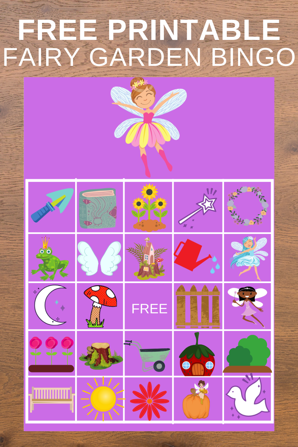 Free printable fairy garden birthday party game for toddlers