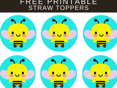 Bumble Bee Straw Topper | Free Printable Bumble Bee Decorations | Bumble Bee Birthday Party Ideas