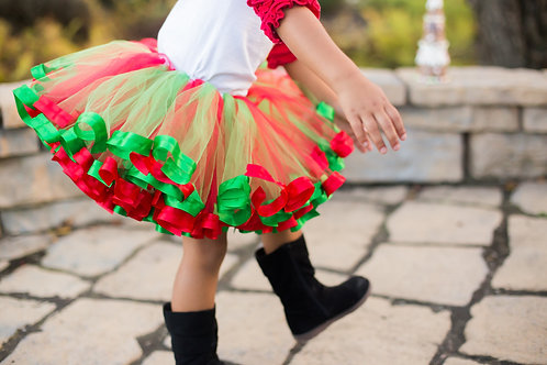 red and green tutu on little girl