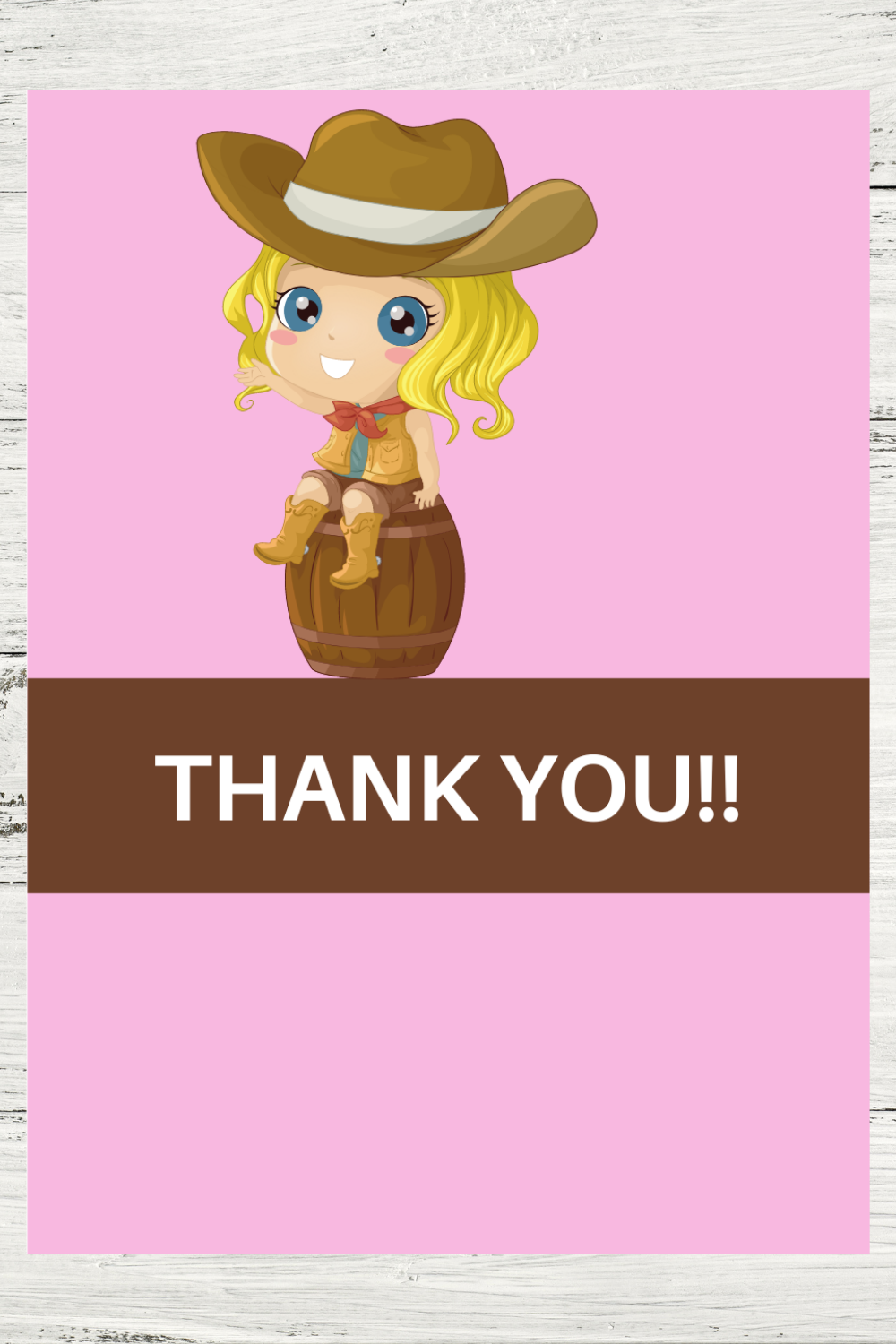 cowgirl themed thank you card for kids