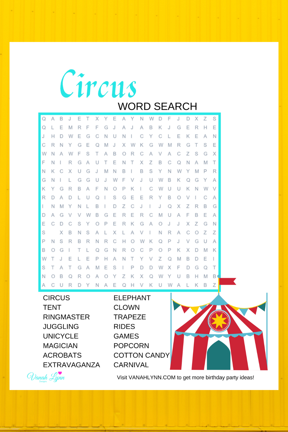 free download: circus activity page for kids