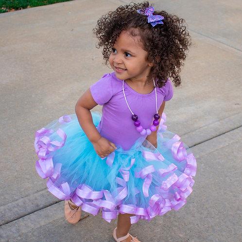 aqua and lavender tutu skirt on toddler