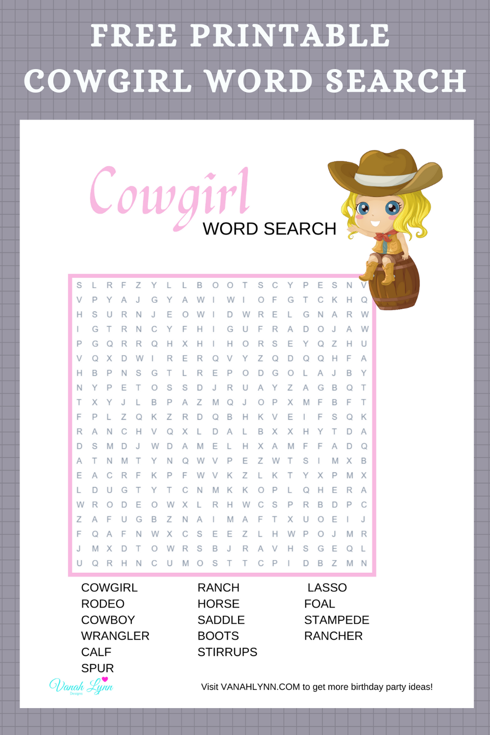free printable cowgirl word find for a kids birthday party