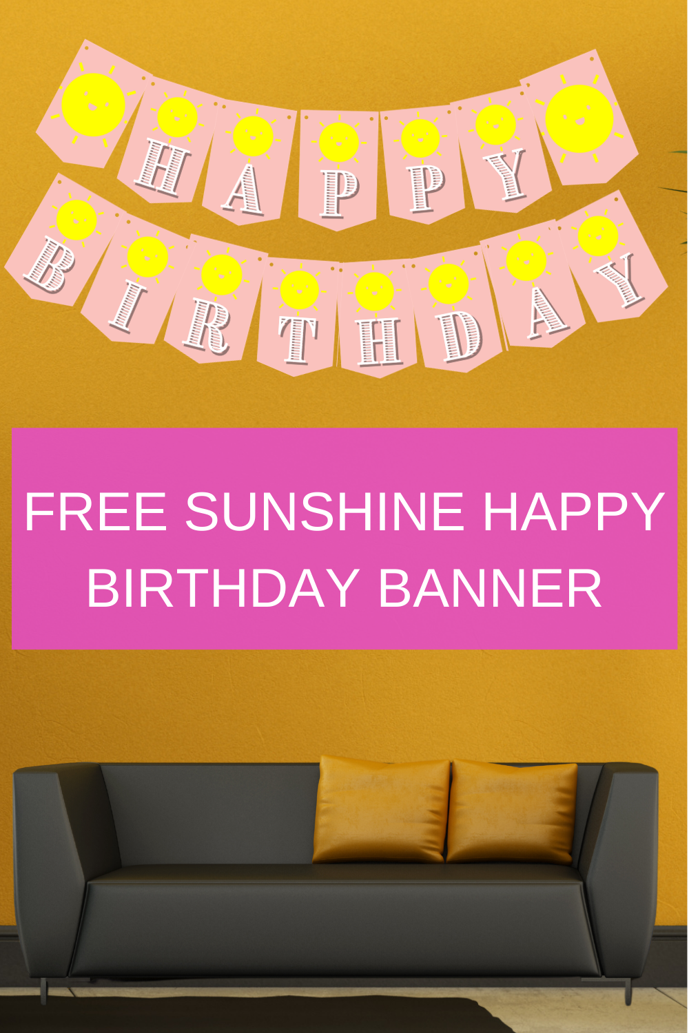 pink and yellow sunshine birthday party banner