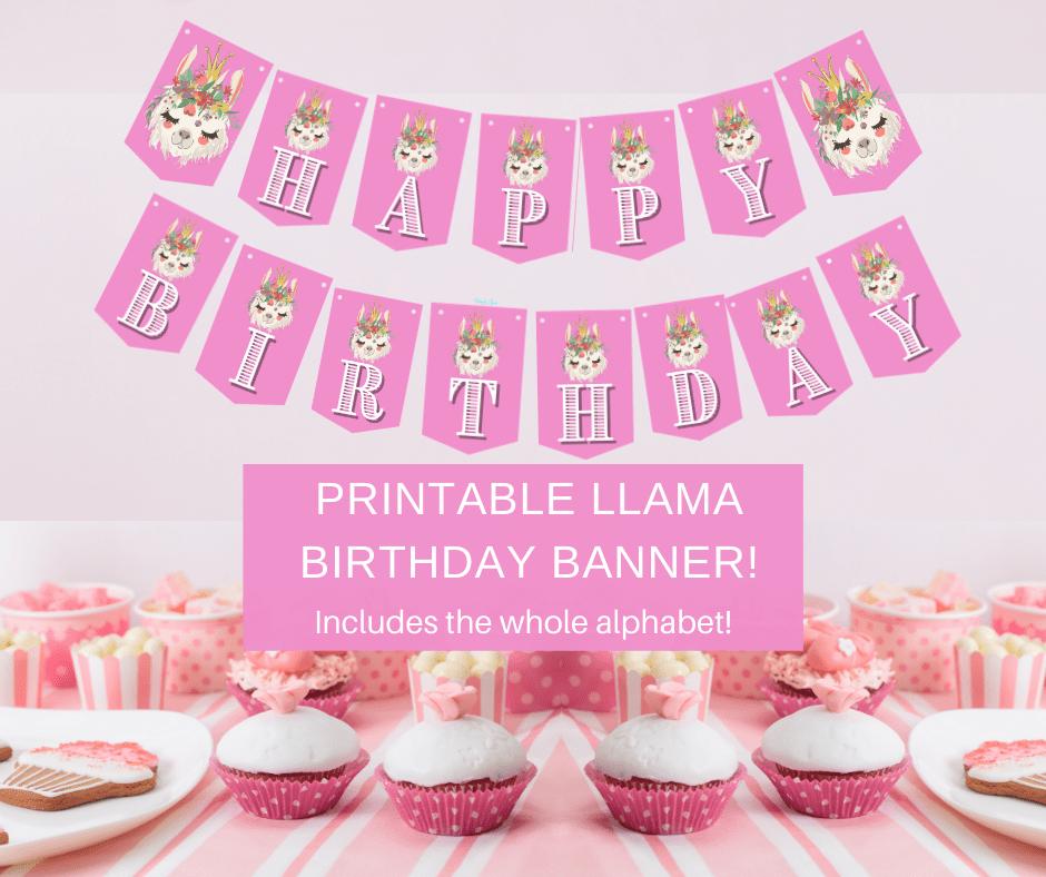 llama happy birthday banner