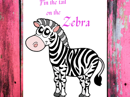 Zebra Themed Party Game: Pin the Tail on the Zebra | Zebra Birthday Party Activity