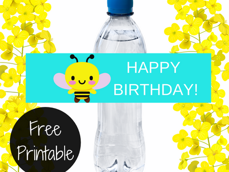 Bumble Bee Water Bottle Label | Free Printable Bumble Bee Birthday Party Ideas | DIY Bee Decorations