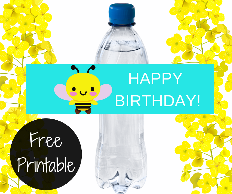 bumble bee water bottle label for a kids birthday party