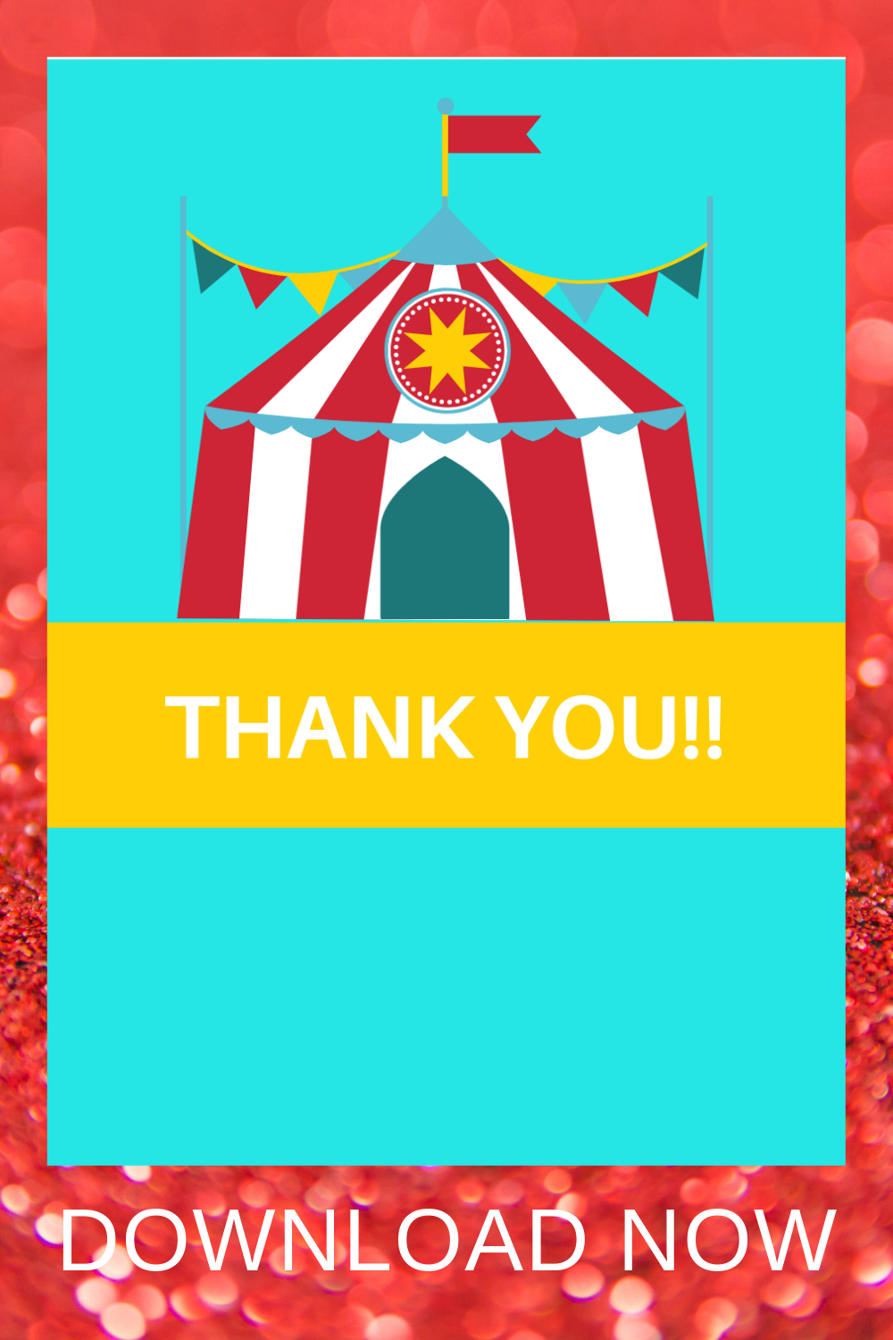 free printable circus themed thank you card
