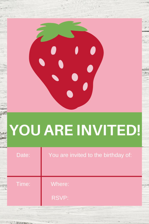 free printable strawberry themed birthday party invite