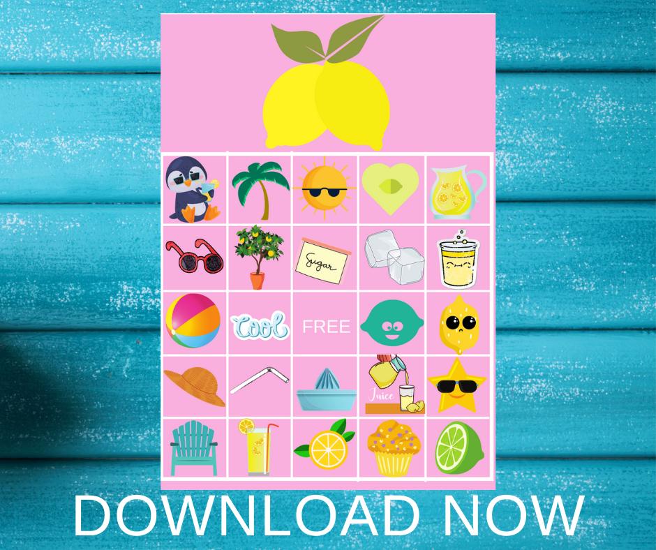 Lemonade themed BINGO for a birthday party