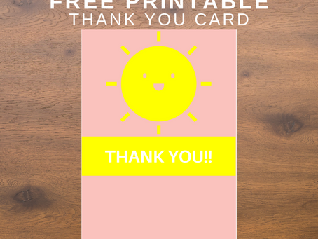 Sunshine Thank You Card | Free Printable Sunshine Themed Thank You Note | DIY Sunshine Party Ideas