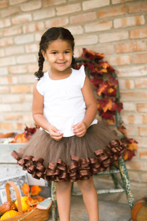 brown tutu on small child