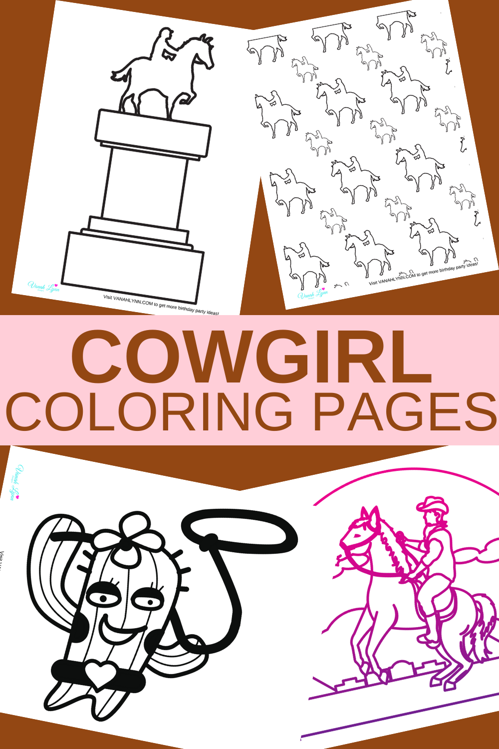 western themed coloring sheets for a cowgirl birthday party