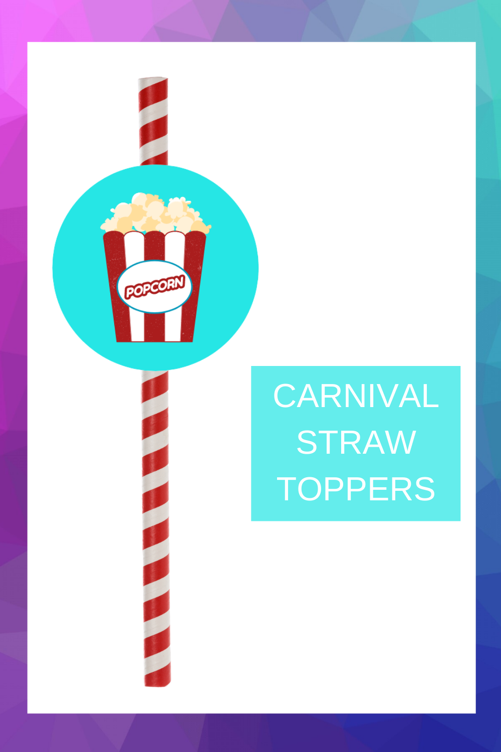 free printable pFree printable carnival straw toppers are a fun and easy way to add a little extra fun to your 1st birthday carnival themed birthday décor. Simply cut and print this free printable carnival party idea. Then tape the circle to a fun straw. These can also be used as a cupcake topper. Be sure to save this cute carnival cupcake idea for later use.