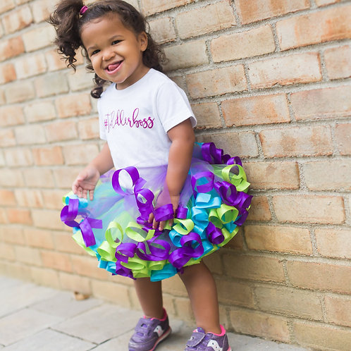 bright and colorful tut skirt on toddler girl
