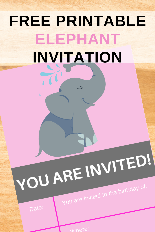 free printable elephant themed birthday party invite