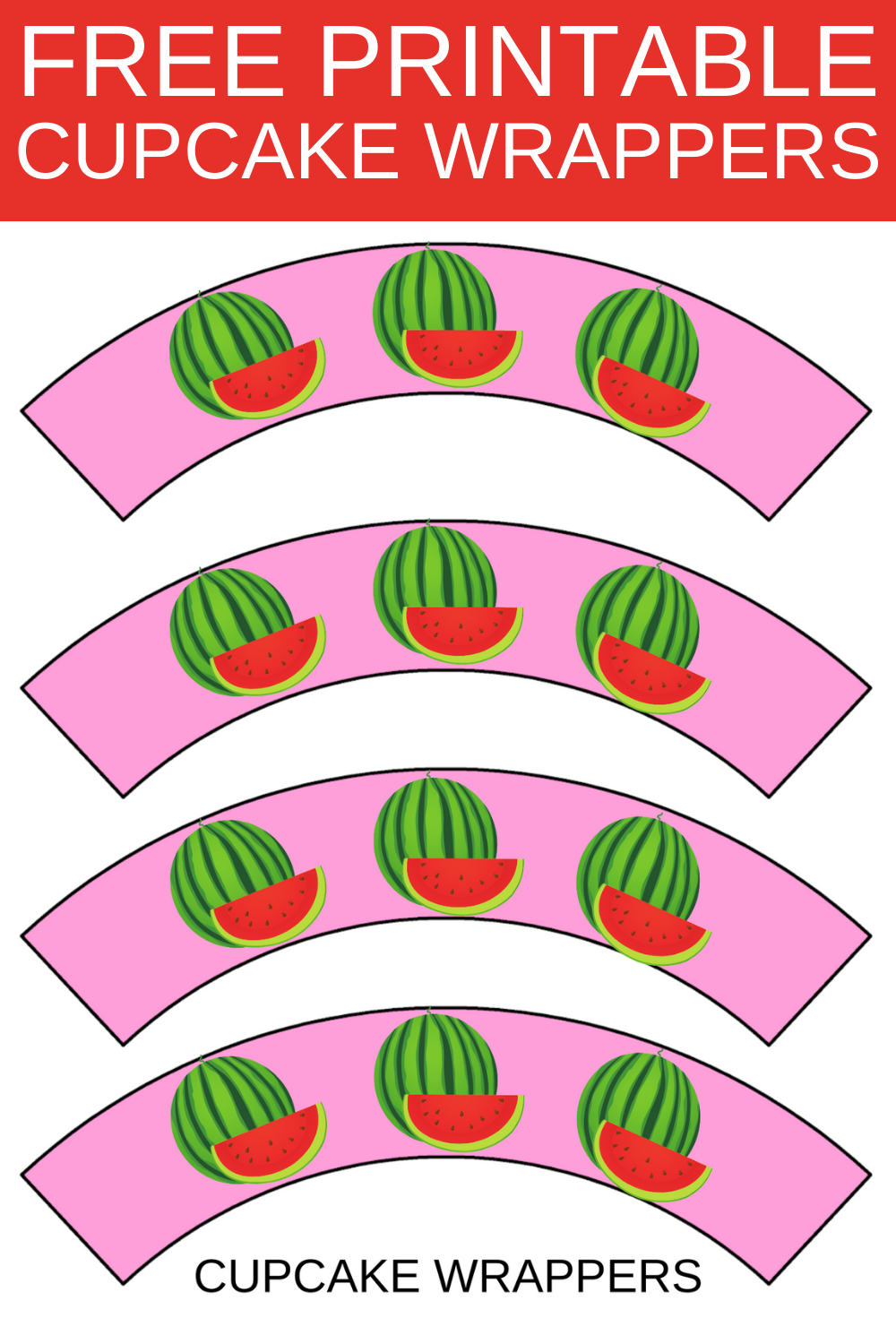 watermelon first birthday cupcake wrappers