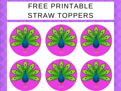 Peacock Straw Toppers | Freebie