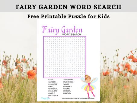 Fairy Garden Word Search | Free Printable Fairy Garden Birthday Party Activity Sheet | Word Find