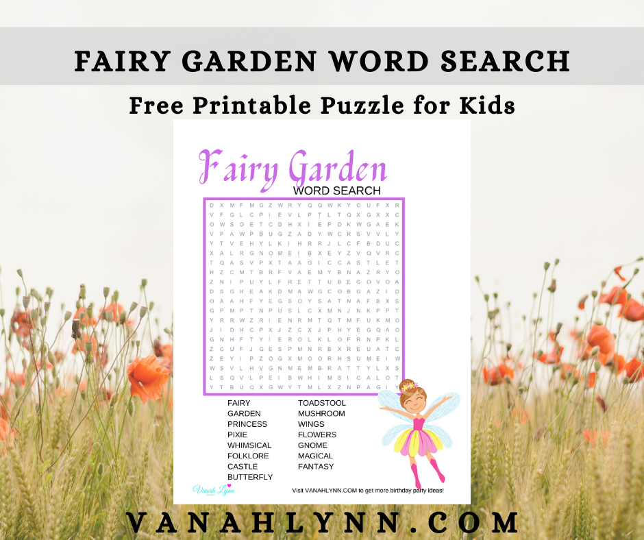 fairy garden word search for kids birthday party