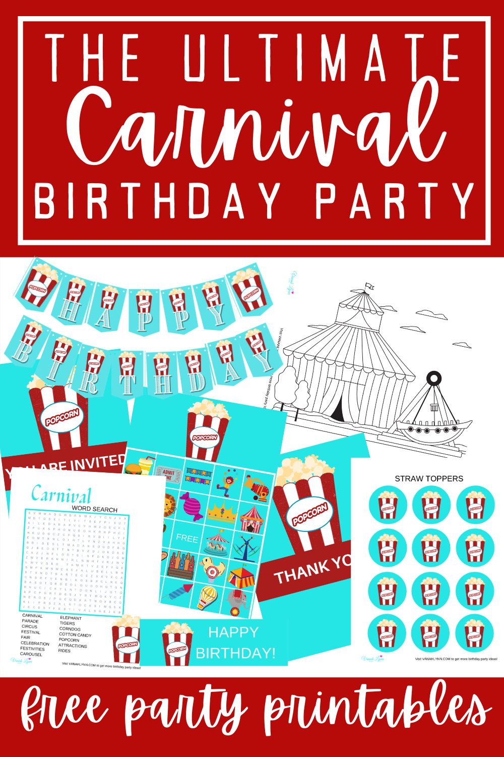 carnival birthday party decorations free printables