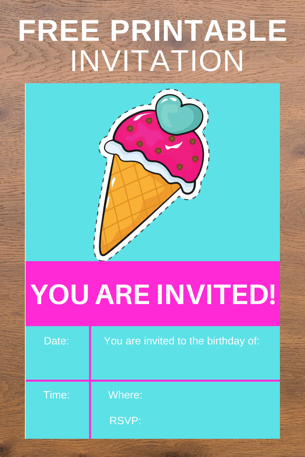 ice cream themed birthday party invitation cards for kids