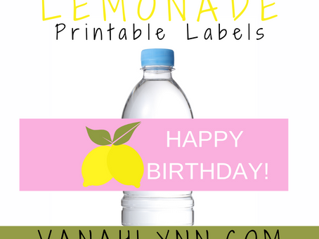 Lemonade Water Bottle Label | Free Printable Lemon Birthday Party Ideas | DIY Birthday Decorations