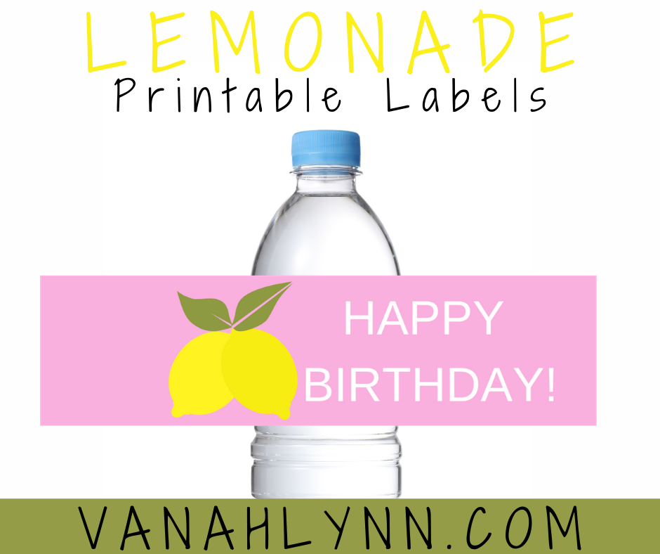 lemonade water bottle label for a kids birthday party