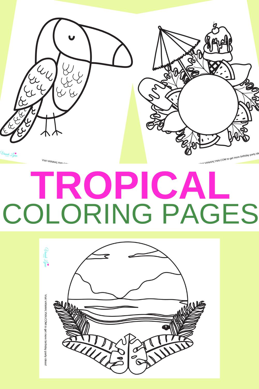 free printable tropical coloring sheet for a preschooler