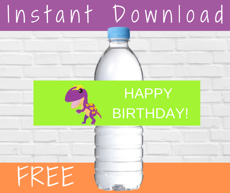 dinosaur themed water bottle label for a dinosaur birthday party