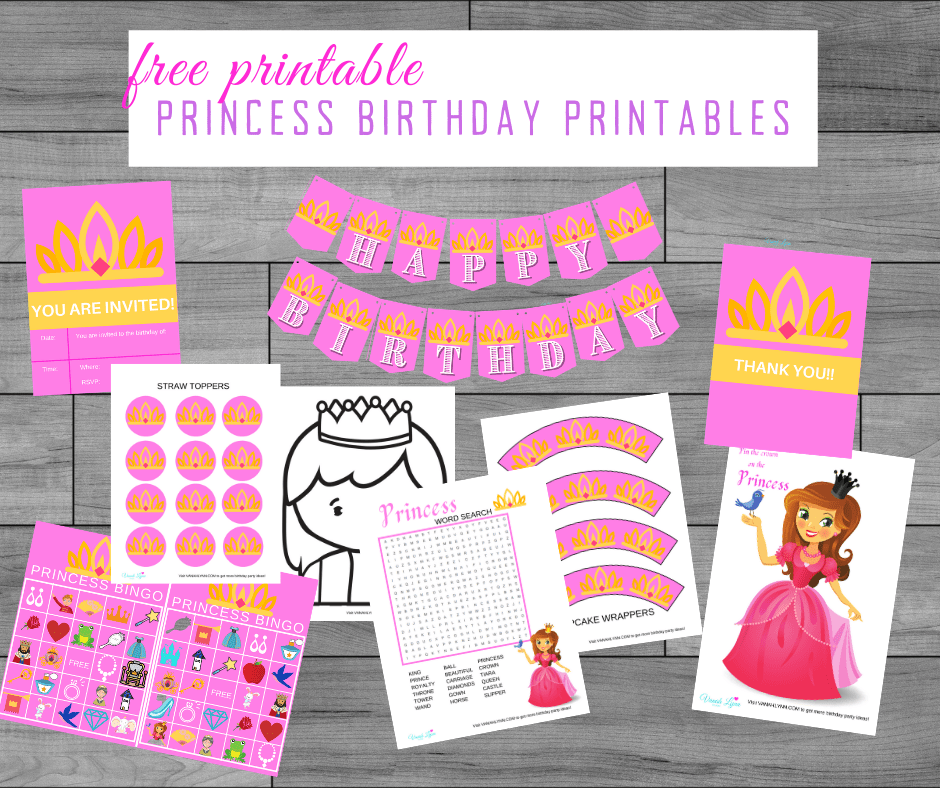 pink princess birthday theme printables