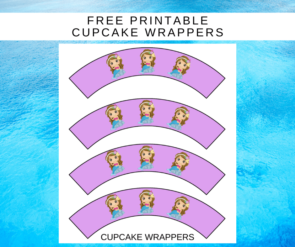 mermaid 1st birthday party cupcake wrappers