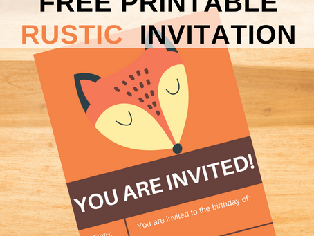 Rustic Invite | Free Printable Fox Invitation | Rustic Themed Birthday Party Ideas | 1st Birthday