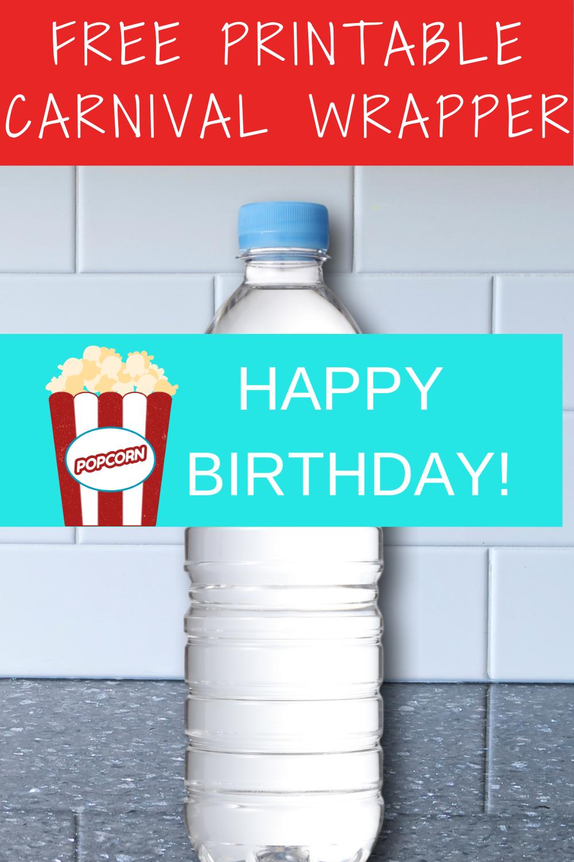 1st birthday girl carnival water bottle label