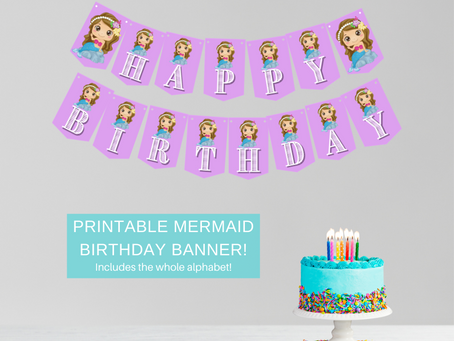 Mermaid Happy Birthday Banner and Mermaid Alphabet Banner | Mermaid Themed Party Decorations